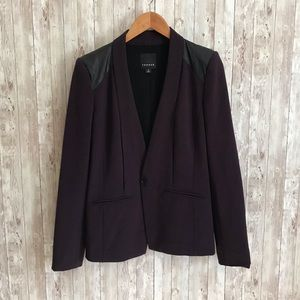 Nordstrom Trouve purple and faux leather blazer